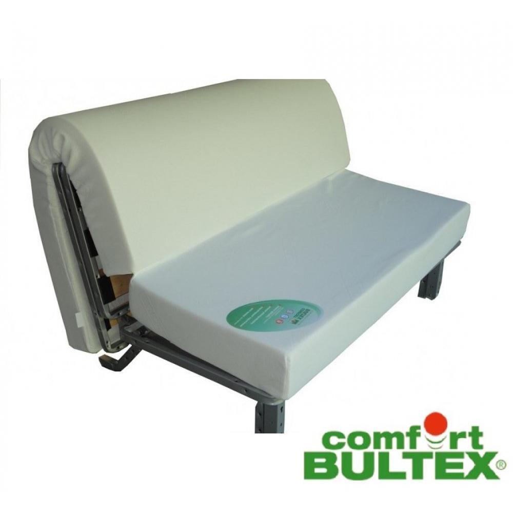 Banquette BZ convertible AXEL à motifs taupe 140*200cm matelas confort BULTEX