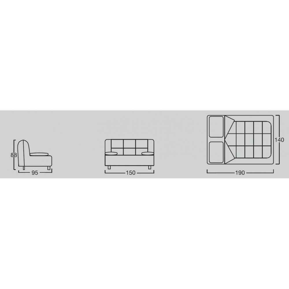 OPEN canapé BZ convertible design CONFORT PLUS 140*190cm