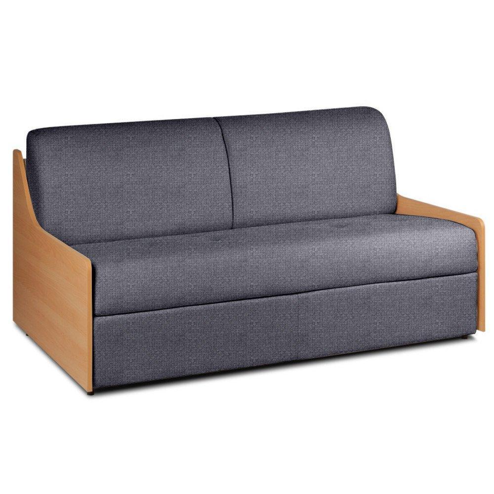 Canapé lit compact 3 places NORMANN 140cm matelas 14cm ouverture express accoudoirs bois tissu tweed gris platin