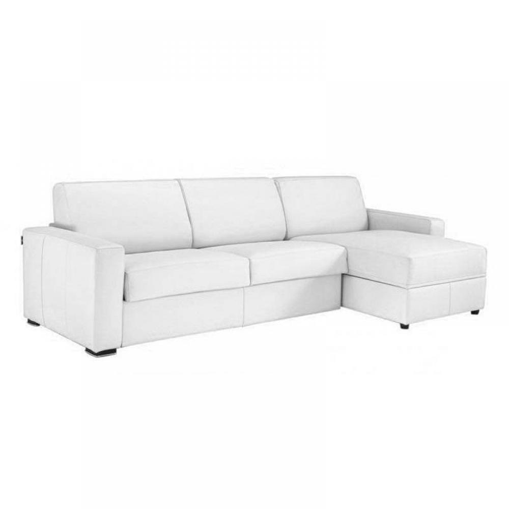 Canapé d'angle 2 places Blanc Tissu Design Confort