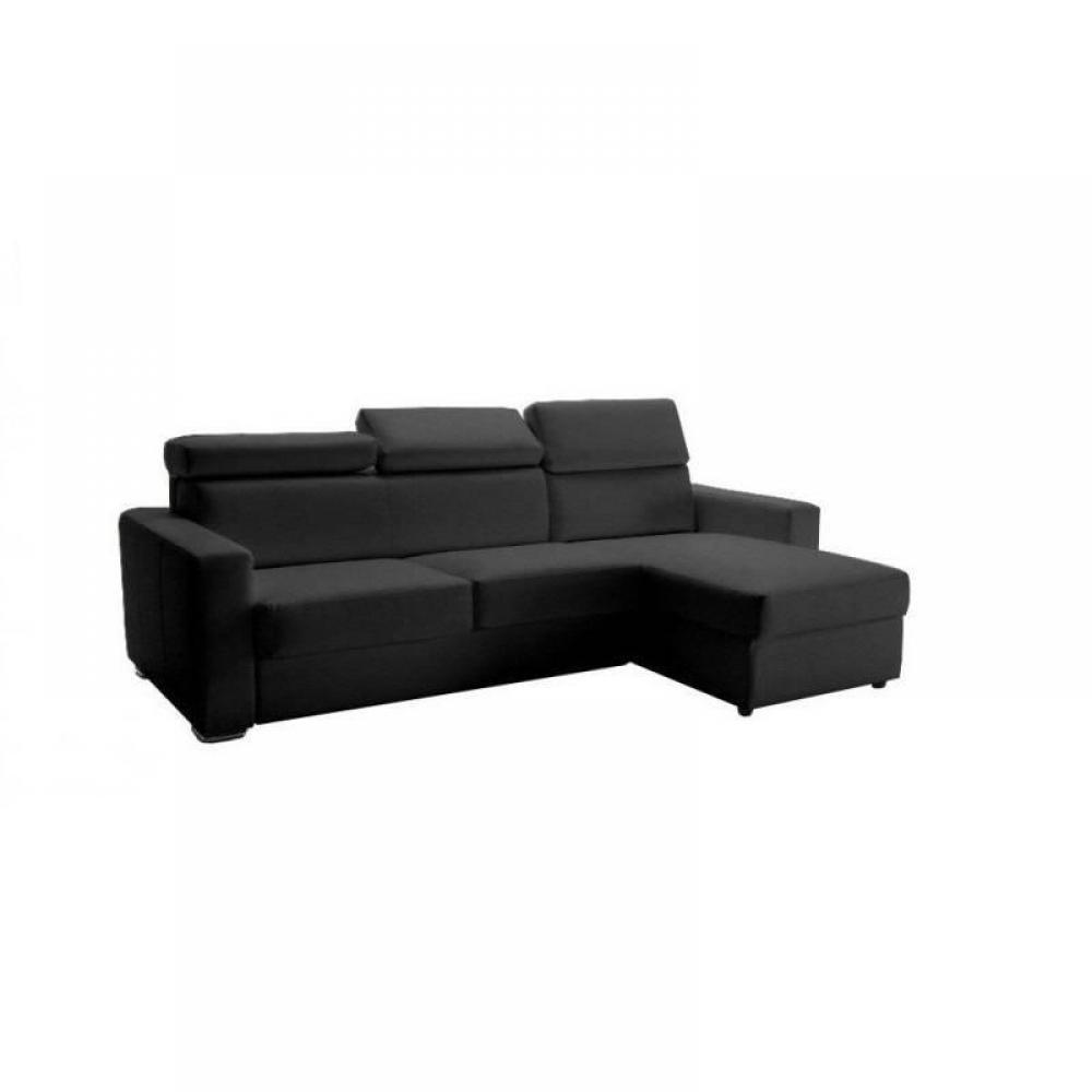 Canapé d'angle 2 places Gris Tissu Luxe Confort