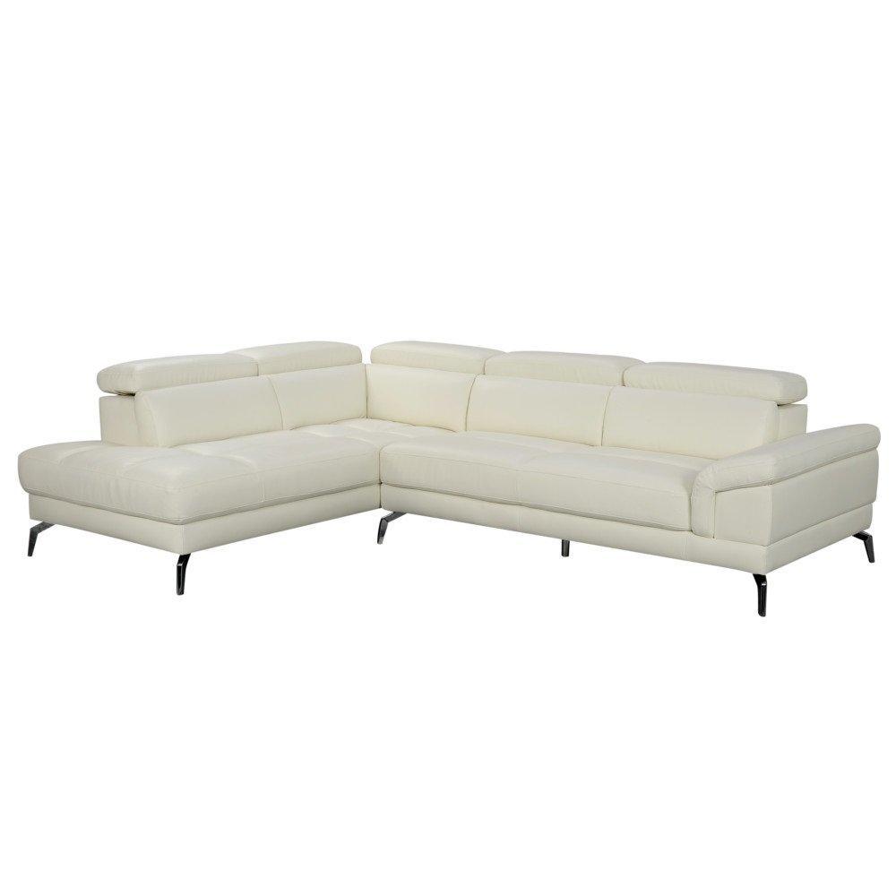 Canapé d'angle gauche fixe LIDO cuir vachette blanc cassé