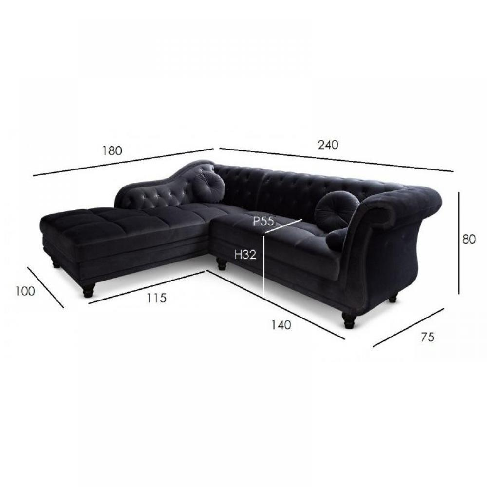 canap chesterfield en cuir velour au meilleur prix canap d 39 angle gauche kingdom. Black Bedroom Furniture Sets. Home Design Ideas