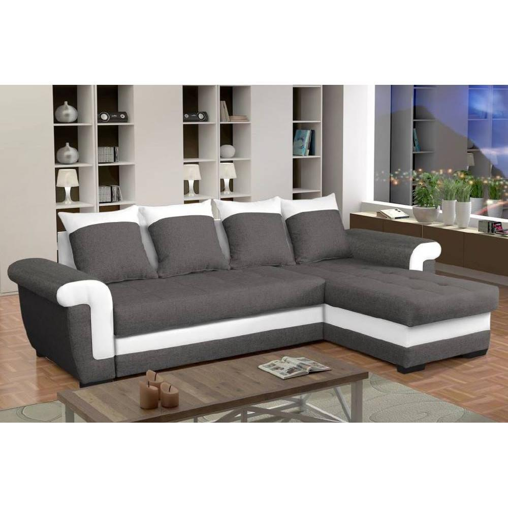 Canapé d'angle 2 places Blanc Tissu Moderne