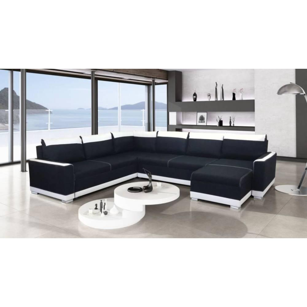 canap d 39 angle convertible au meilleur prix canap convertible niagara angle panoramique noir. Black Bedroom Furniture Sets. Home Design Ideas