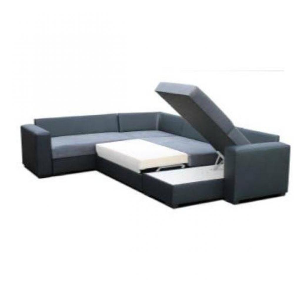 Canapé convertible LISTOWEL angle panoramique noir et gris