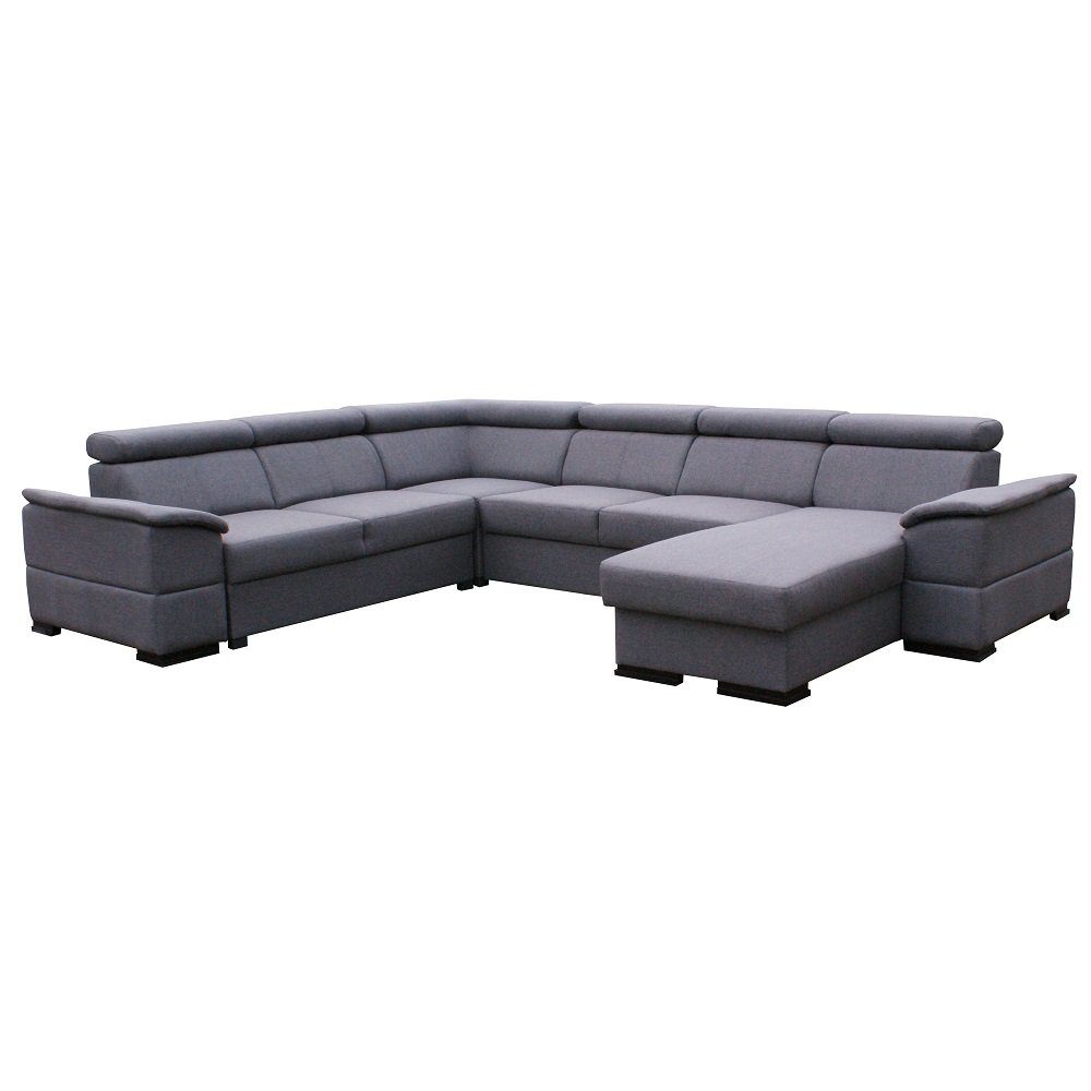 Canapé d'angle 6 places Gris Tissu Moderne Confort