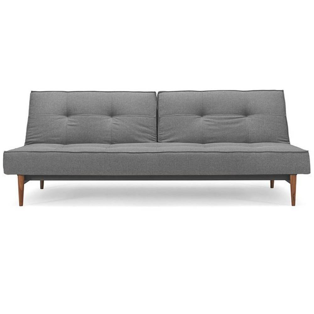 nouvelle arrivee 56254 7777f Canape lit design SPLITBACK STYLETTO Sofa tissu Flashtex Dark Grey  convertible 115*200 cm piétement noyer