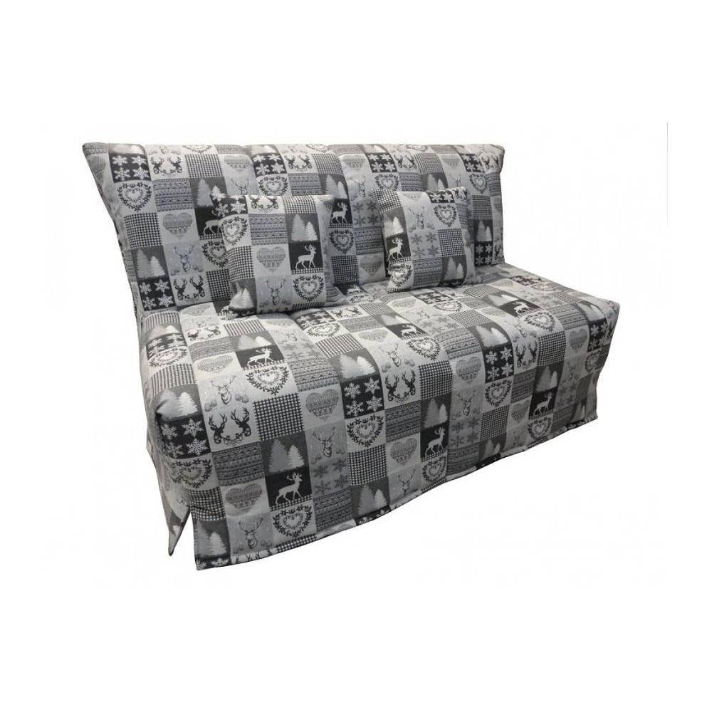canap convertible au meilleur prix canap bz convertible flo motifs cerfs gris 160 200cm. Black Bedroom Furniture Sets. Home Design Ideas
