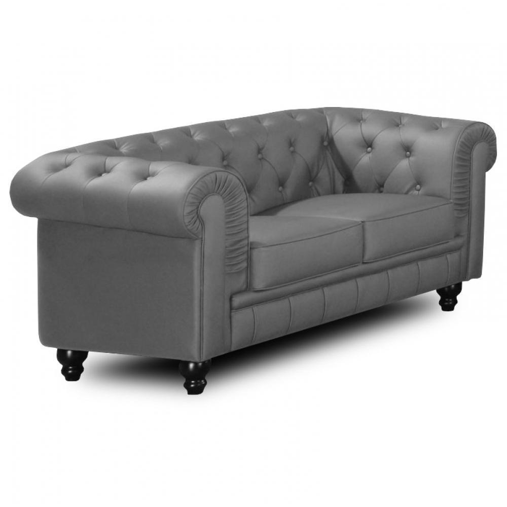 canap chesterfield en cuir velour au meilleur prix canap fixe chesterfield royal 2 places. Black Bedroom Furniture Sets. Home Design Ideas