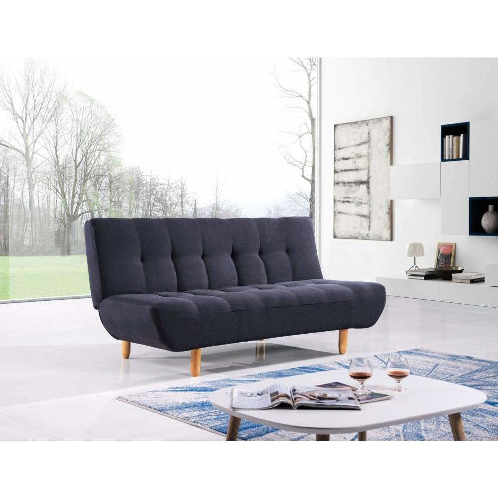 canap convertible au meilleur prix canap clic clac design scandinave viking tissu noir inside75. Black Bedroom Furniture Sets. Home Design Ideas