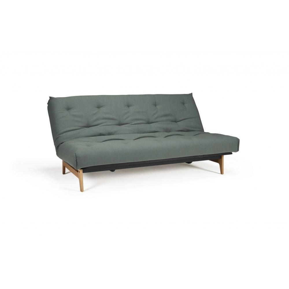 INNOVATION LIVING  Canapé convertible design ASLAK lit 140*200 cm capitonné tissu Elegance Green