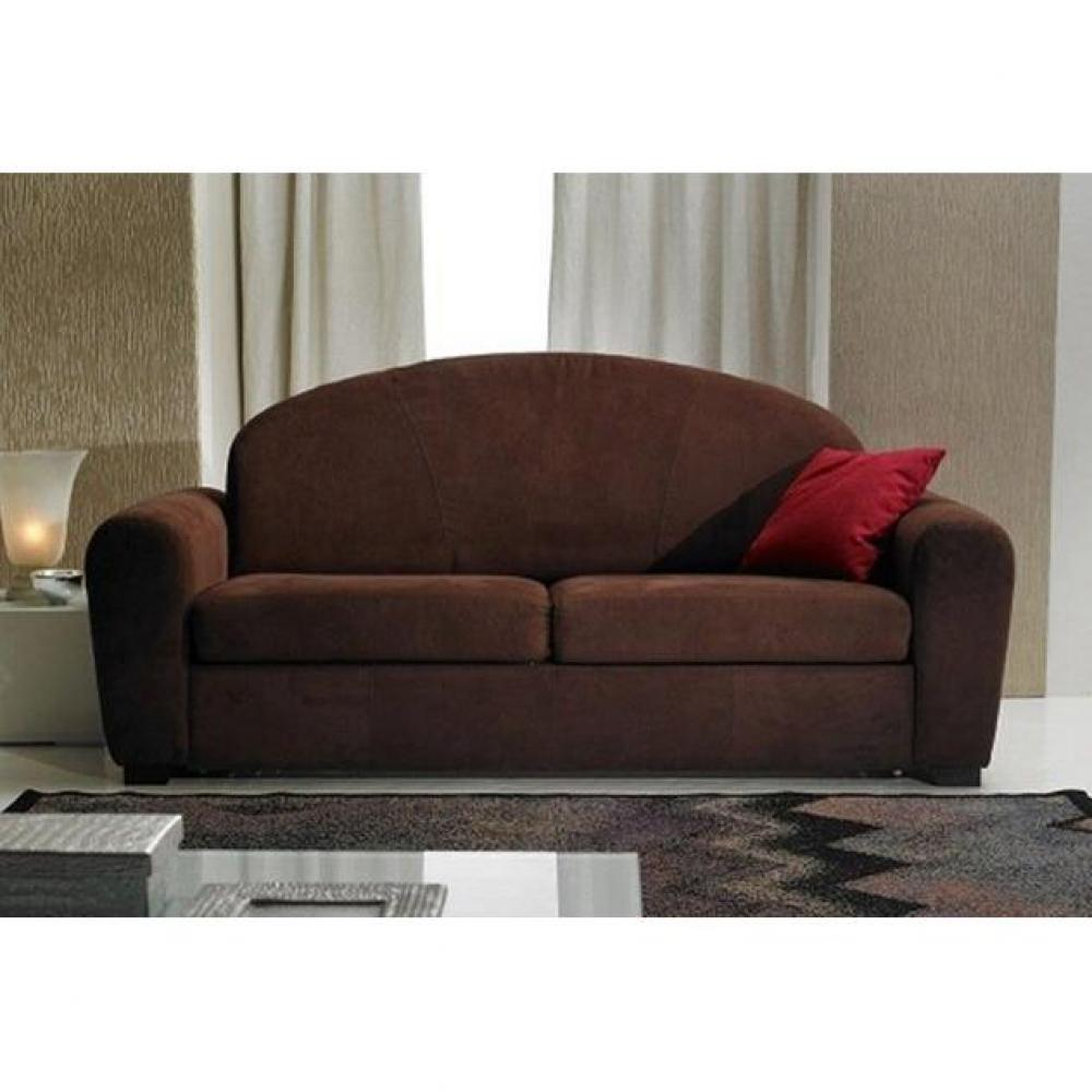 Canapé droit 3 places Marron Tissu Luxe Confort