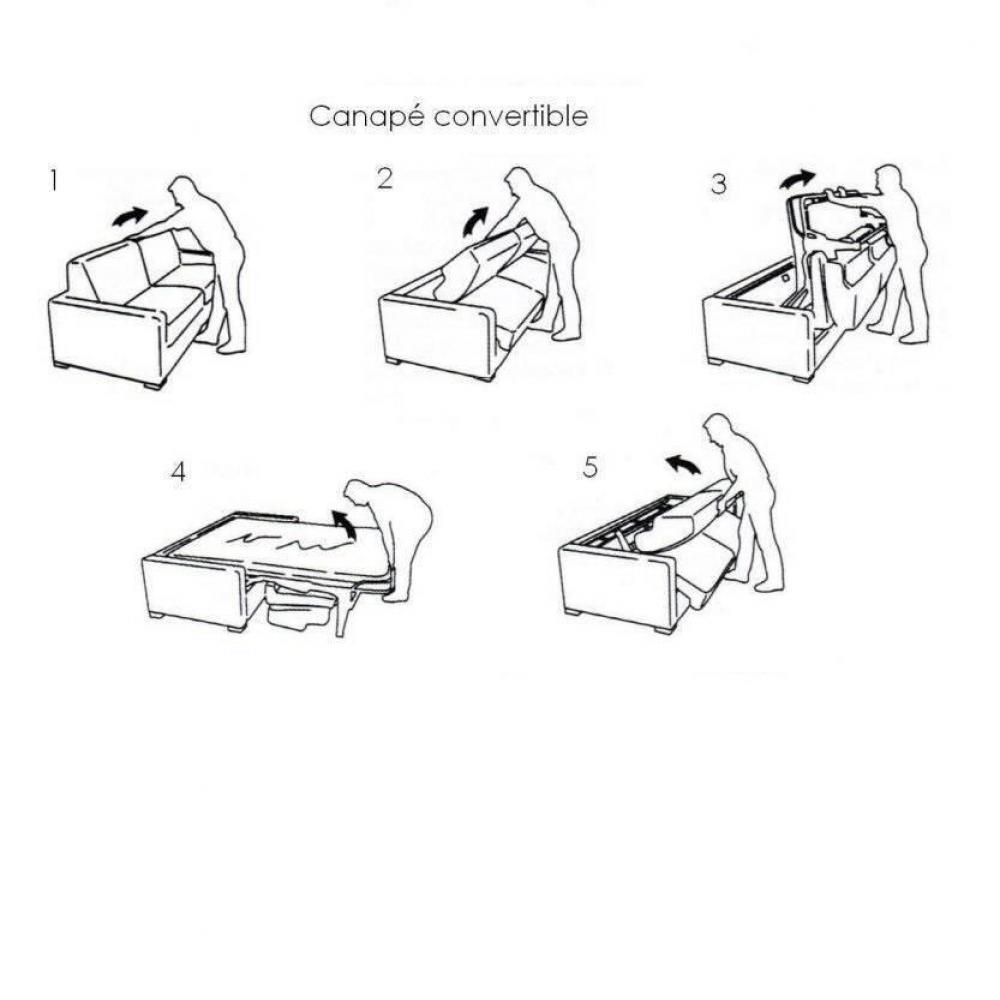 Canapé convertible express CLUB NEWTON sommier lattes 140cm matelas mémory 16cm SilverCare