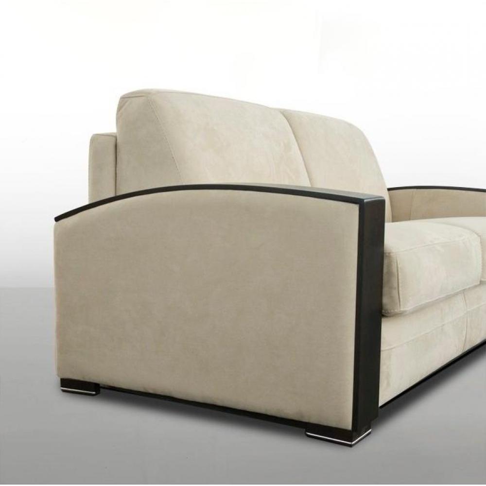 Canapé lit MOLITOR convertible ouverture RAPIDO 120cm accoudoirs bois