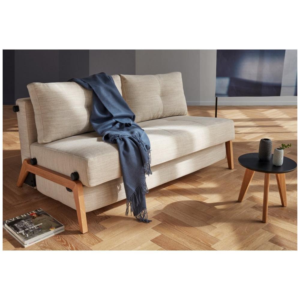 INNOVATION LIVING  Canapé design CUBED WOOD 02 convertible lit 200*140 cm tissu Linen Sand Grey