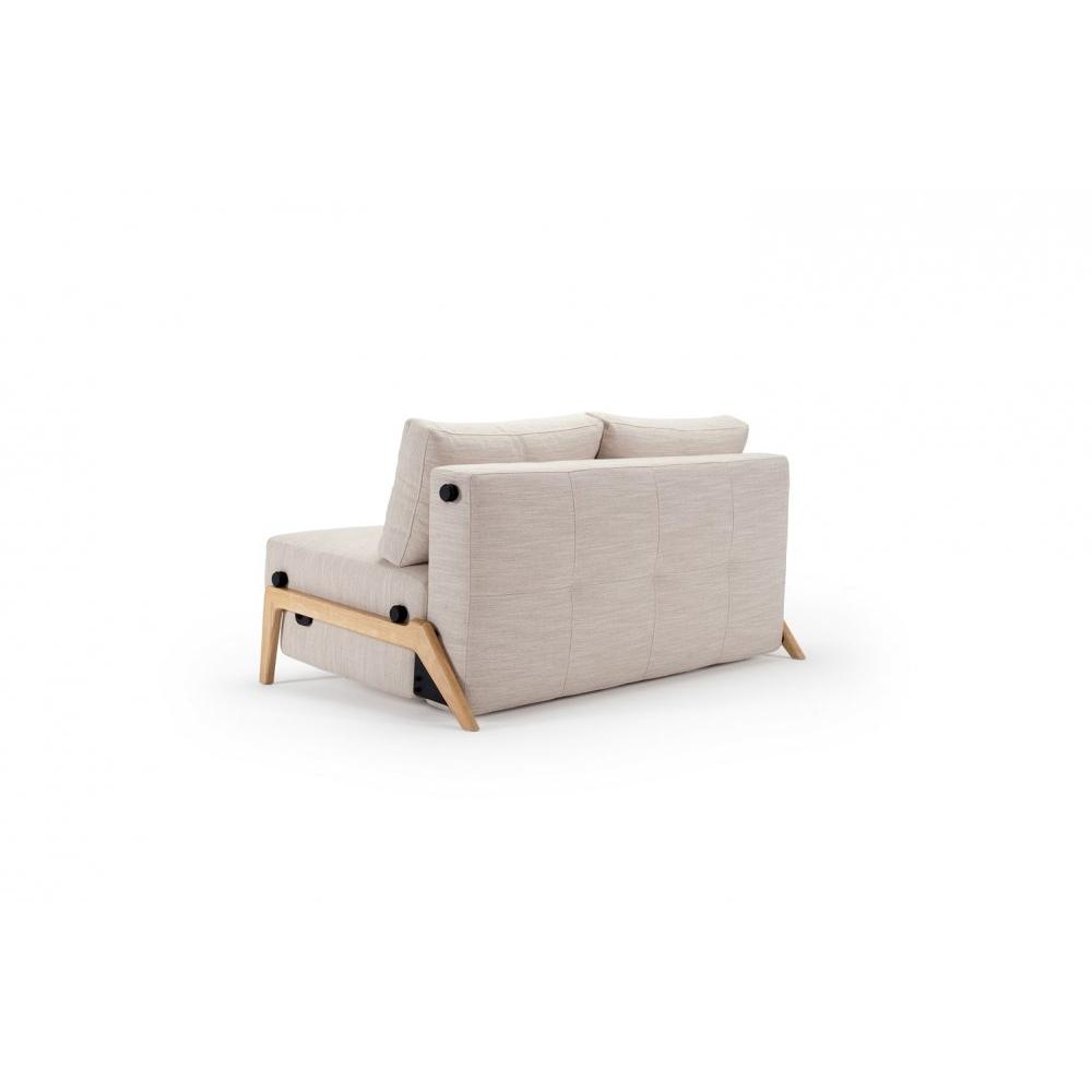 INNOVATION LIVING  Canapé design CUBED WOOD 02 convertible lit 200*160 cm tissu Linen Sand Grey