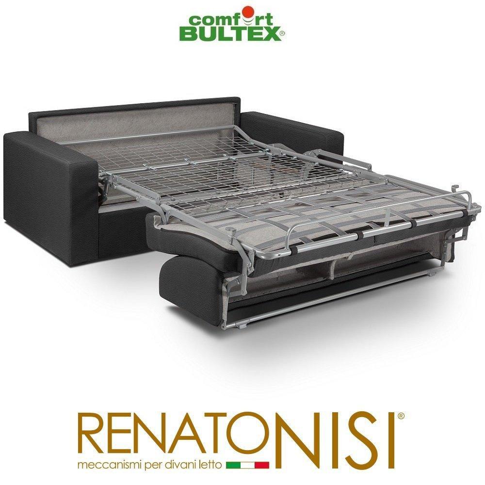 Canapé convertible rapido CRÉPUSCULE matelas 140cm comfort BULTEX® revêtement polyuréthane gris graphite