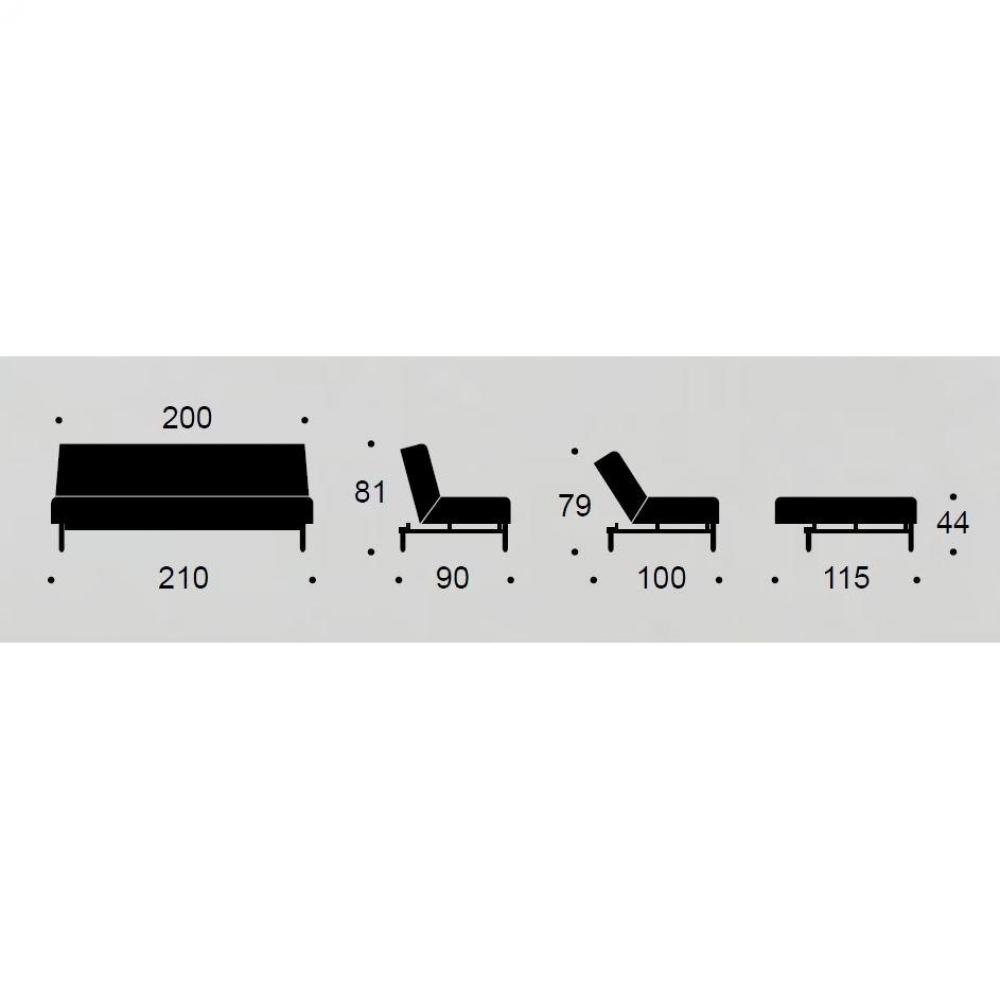 INNOVATION LIVING Canapé BURI Stem tissu Mixed Dance Gris  convertible lit 115*200 cm piétement chêne