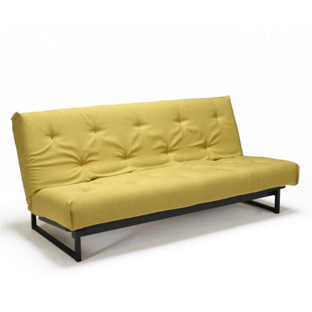 Canapé droit Noir Tissu Contemporain Confort