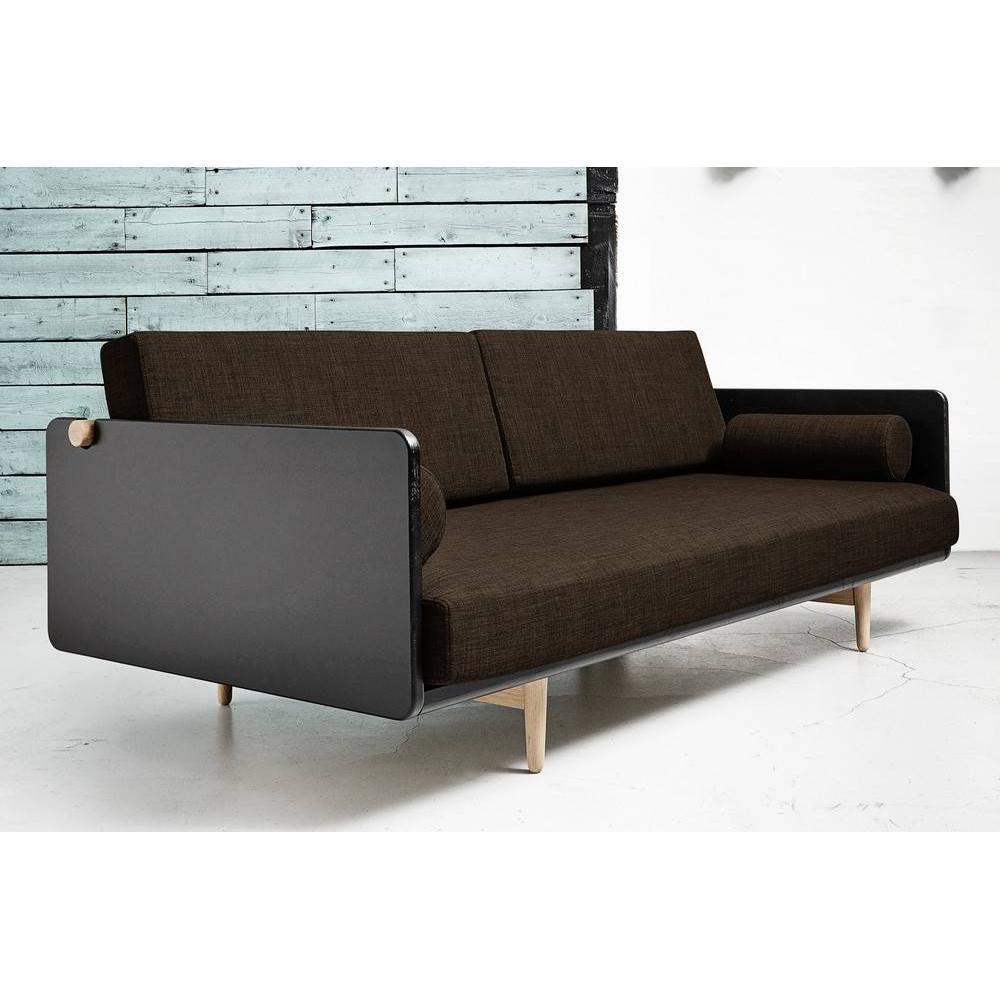 Canapé lit style scandinave DEVA chocolat couchage 100*200cm