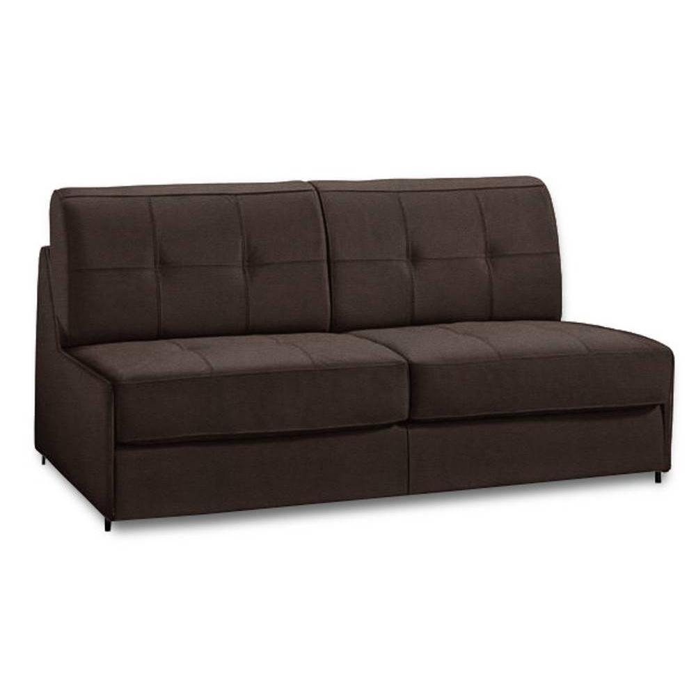 Canapé lit compact 3 places DENSO ouverture RAPID RAPIDO 140cm microfibre marron matelas 18 cm