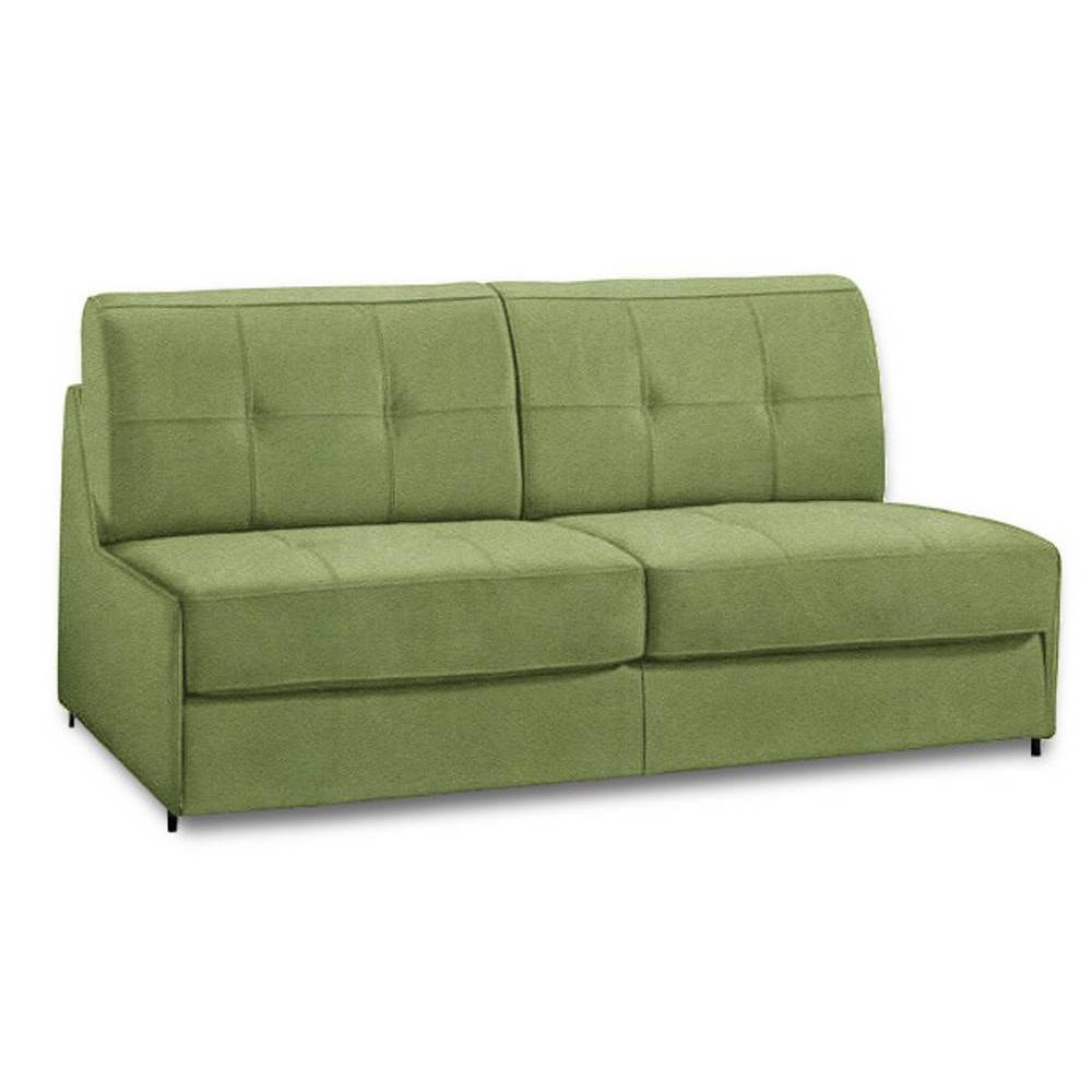Canapé lit compact 3 places DENSO ouverture RAPID RAPIDO 140cm microfibre verte matelas 18 cm