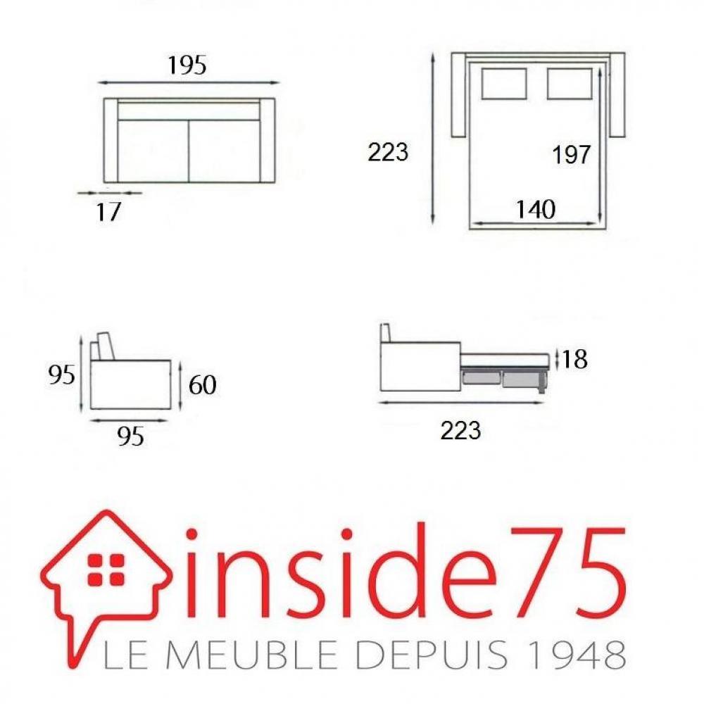 Canapé lit MAESTRO convertible 140cm ouverture RAPIDO 140cm matelas 18cm tissu tweed gris graphite