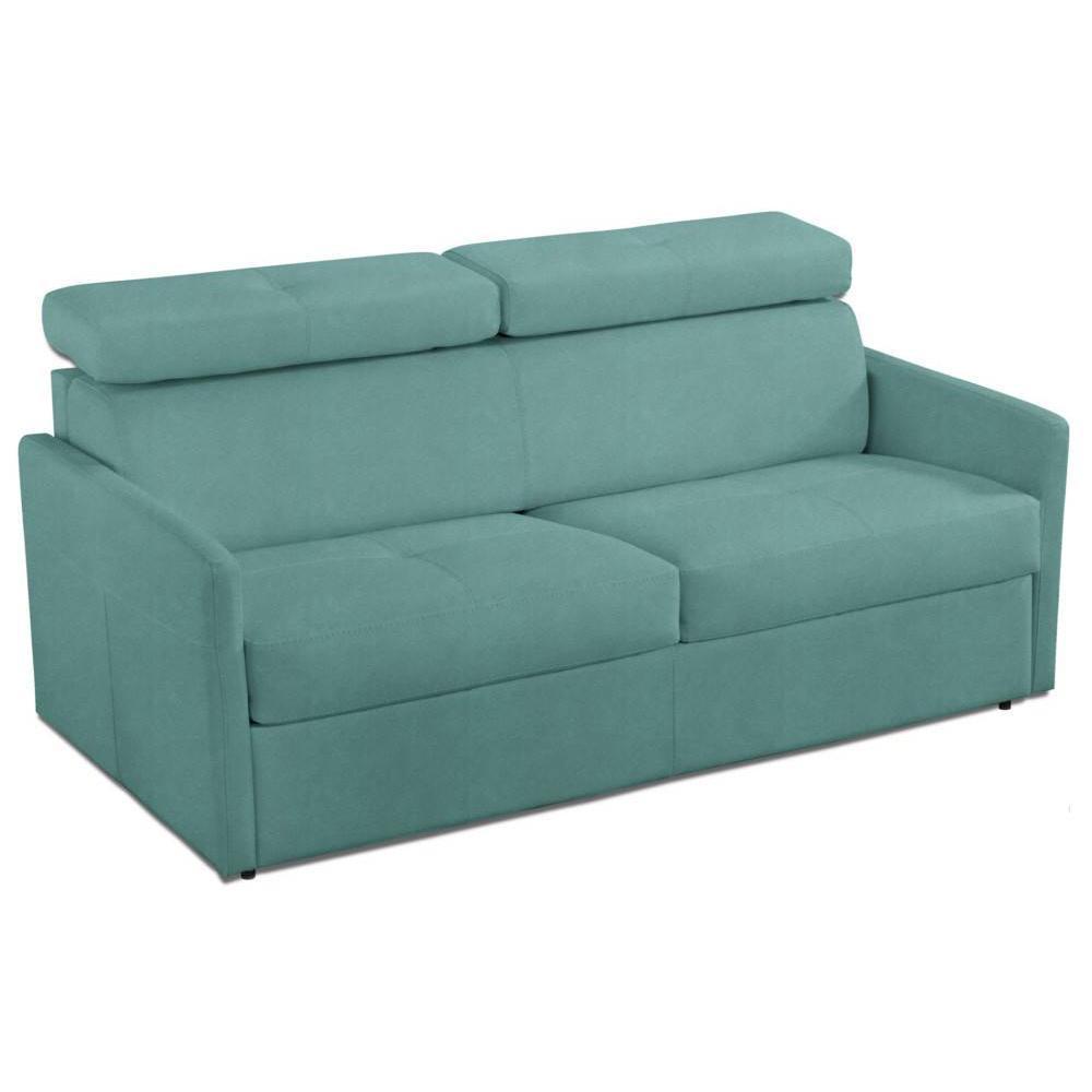 Canapé lit ouverture rapido PARIS 140cm tissu microfibre turquoise matelas 14cm
