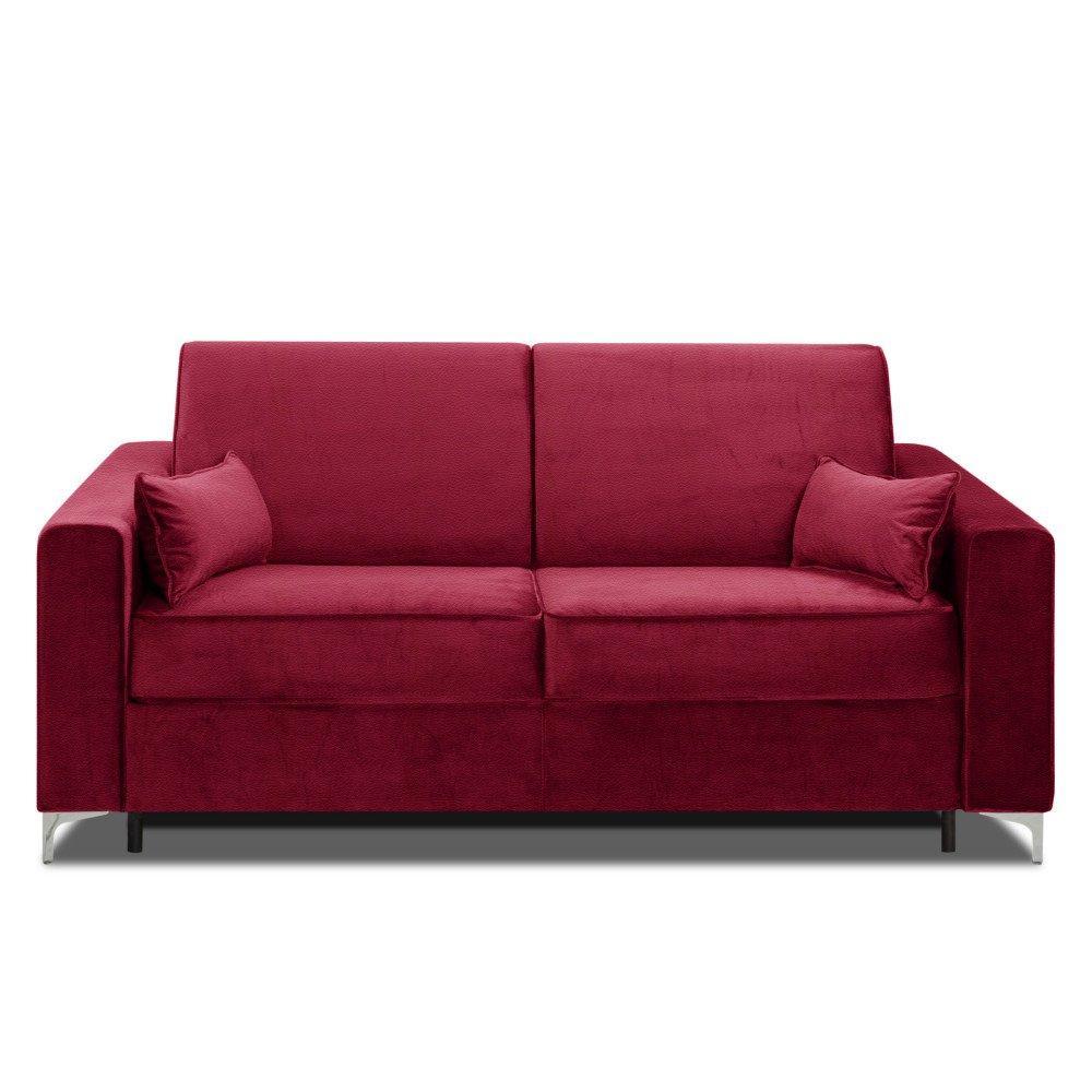 Canapé convertible rapido JACKSON 140cm sommier lattes RENATONISI tête de lit intégrée cuir vachette recyclé rouge