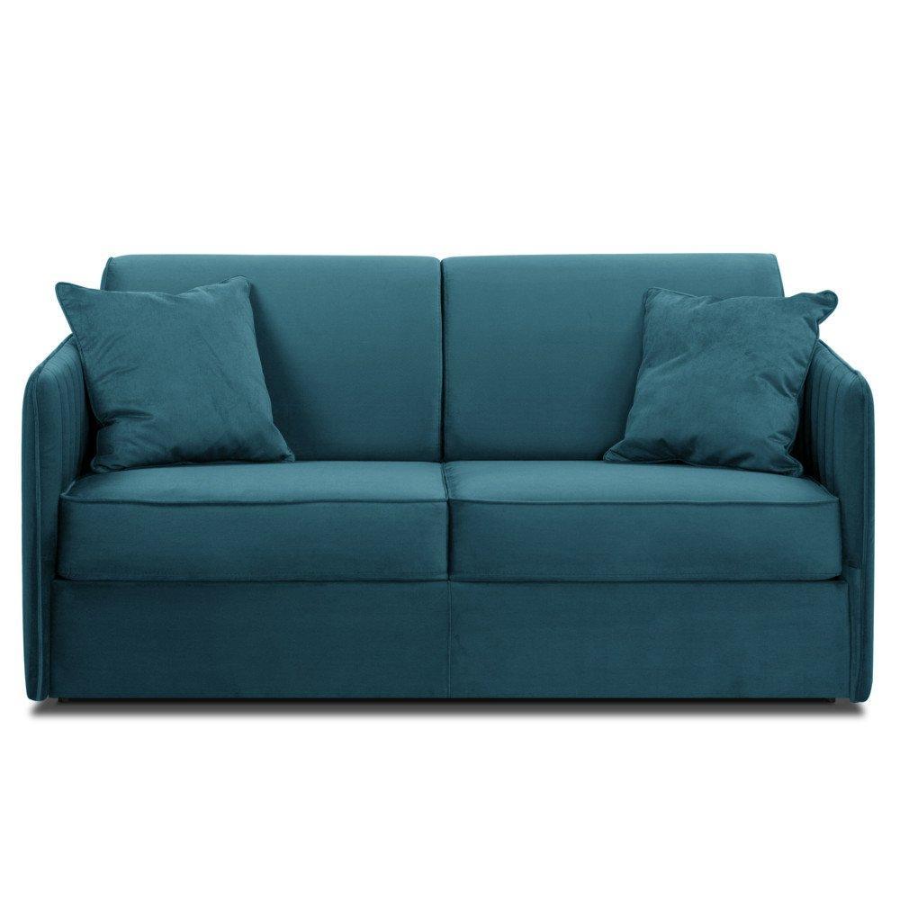 Canapé convertible rapido SEATTLE matelas 140cm sommier lattes tête de lit intégrée tissu microfibre bleu paon