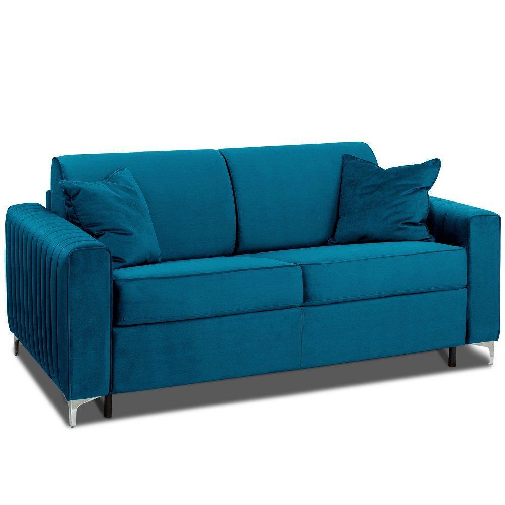 Canapé convertible rapido PRINCE matelas 160cm sommier lattes RENATONISI tête de lit intégrée tissu velours bleu azur