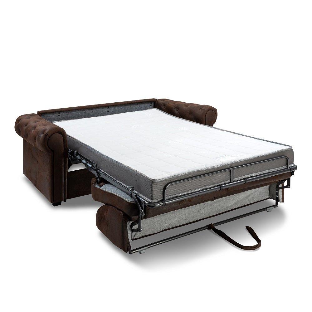 Canapé CHESTERFIELD Convertible Express 140 cm sommier lattes matelas 16 cm microfibre vintage