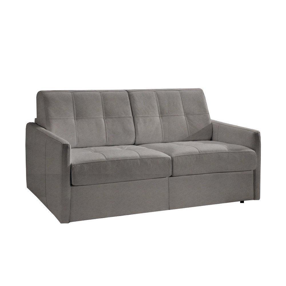 Canapé lit CUBE convertible en système rapido couchage 140cm nubucuir gris clair