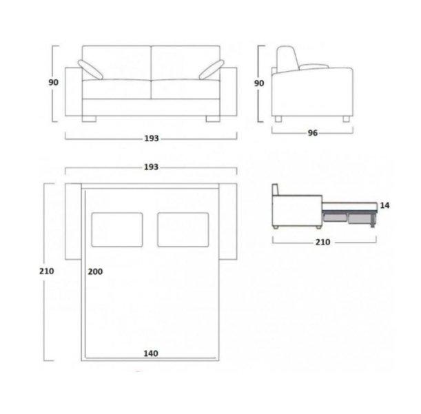 Canapé Convertible DINA MEDIUM Ouverture Assistée Couchage 140*200 Matelas 14 cm