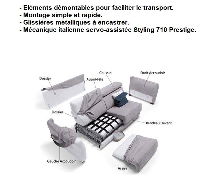 Canapé Convertible DINA MEDIUM Ouverture Assistée Couchage 160*200 matelas 14 cm