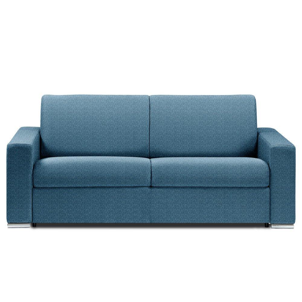 Canapé lit DREAMER convertible 140cm ouverture EXPRESS matelas 14cm tissu tweed bleu azur
