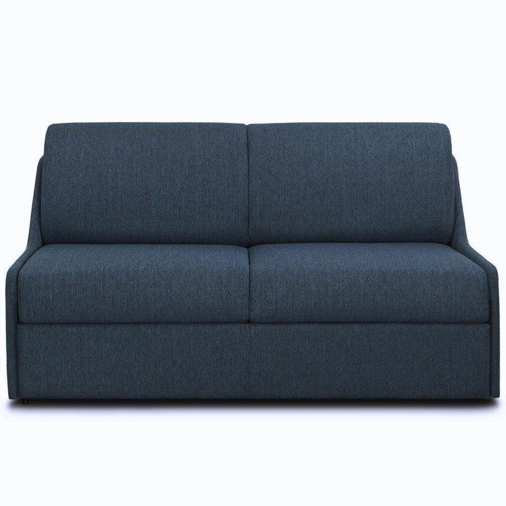 Canapé lit EXPRESSO  express compact 160cm matelas 16cm tissu tweed bleu nuit