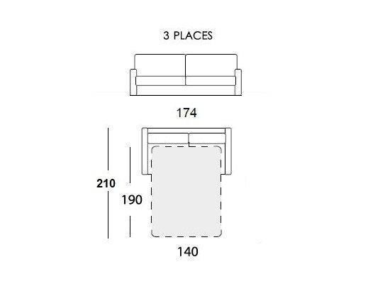 Canapé convertible EXPRESS 140 cm GEMMA matelas 16 cm tissu rouge passepoil blanc