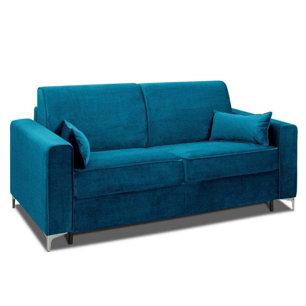 Canapé convertible rapido JACKSON 140cm sommier lattes RENATONISI tête de lit intégrée velours bleu azur