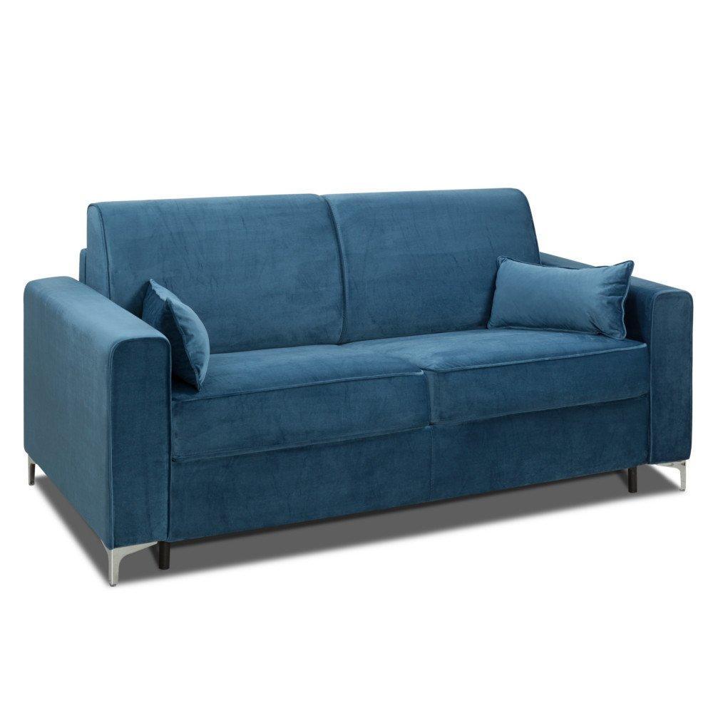 Canapé convertible rapido JACKSON 140cm sommier lattes RENATONISI tête de lit intégrée velours bleu
