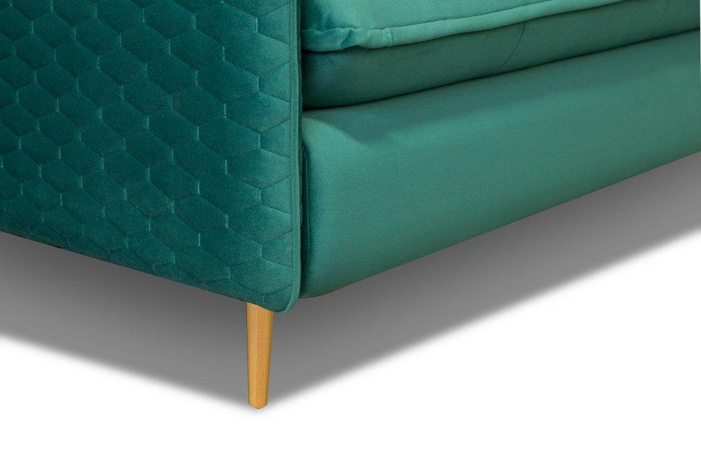 Canapé lit scandinave 3 places express LAGOS 140cm sommier à lattes matelas 13cm velours vert canard