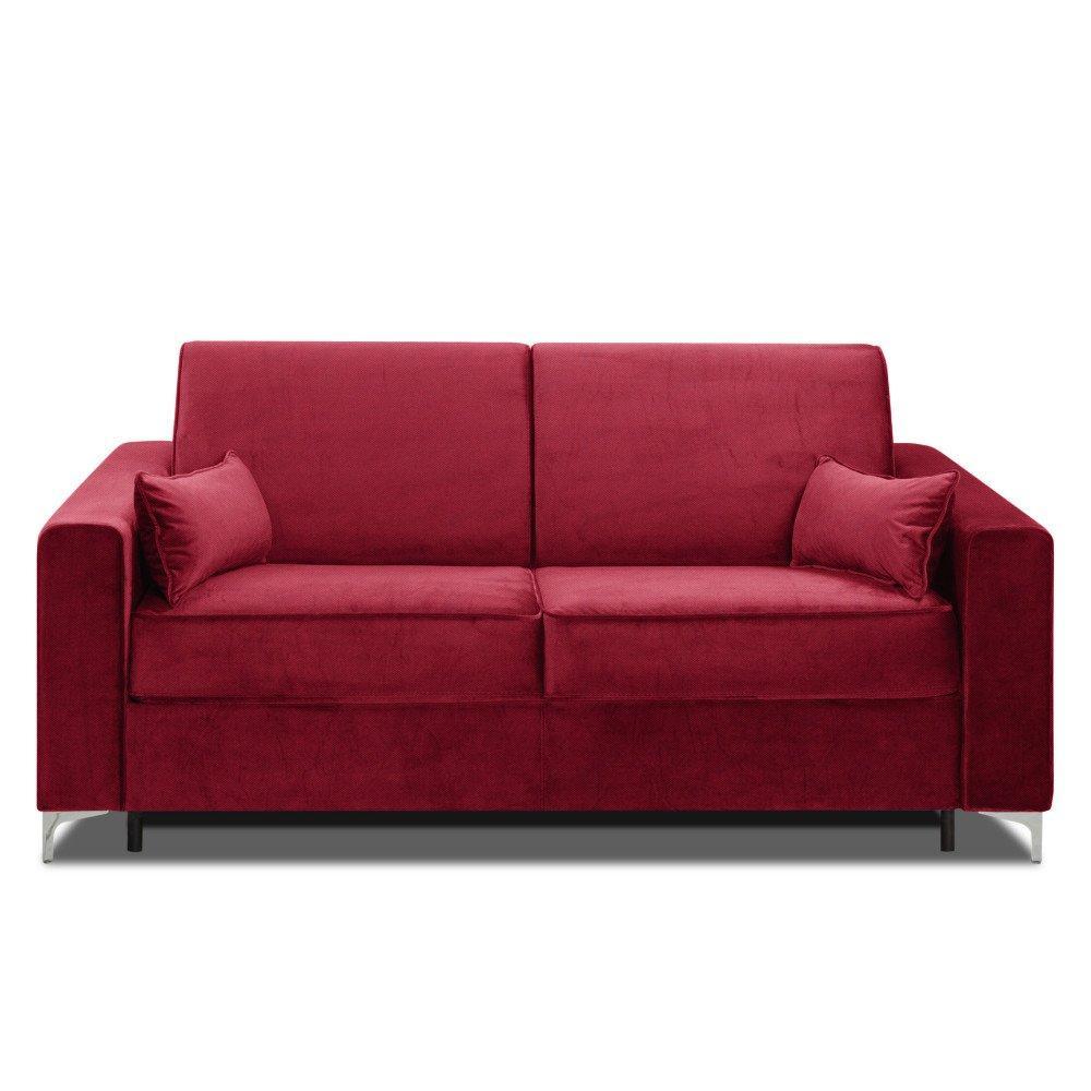 Canapé convertible rapido JACKSON 140cm sommier lattes RENATONISI tissu tweed rouge