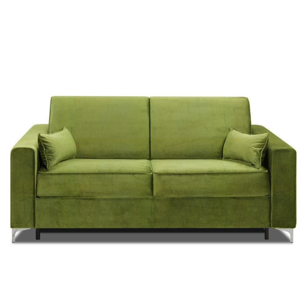 Canapé convertible rapido JACKSON 160cm sommier lattes RENATONISI tissu microfibre vert