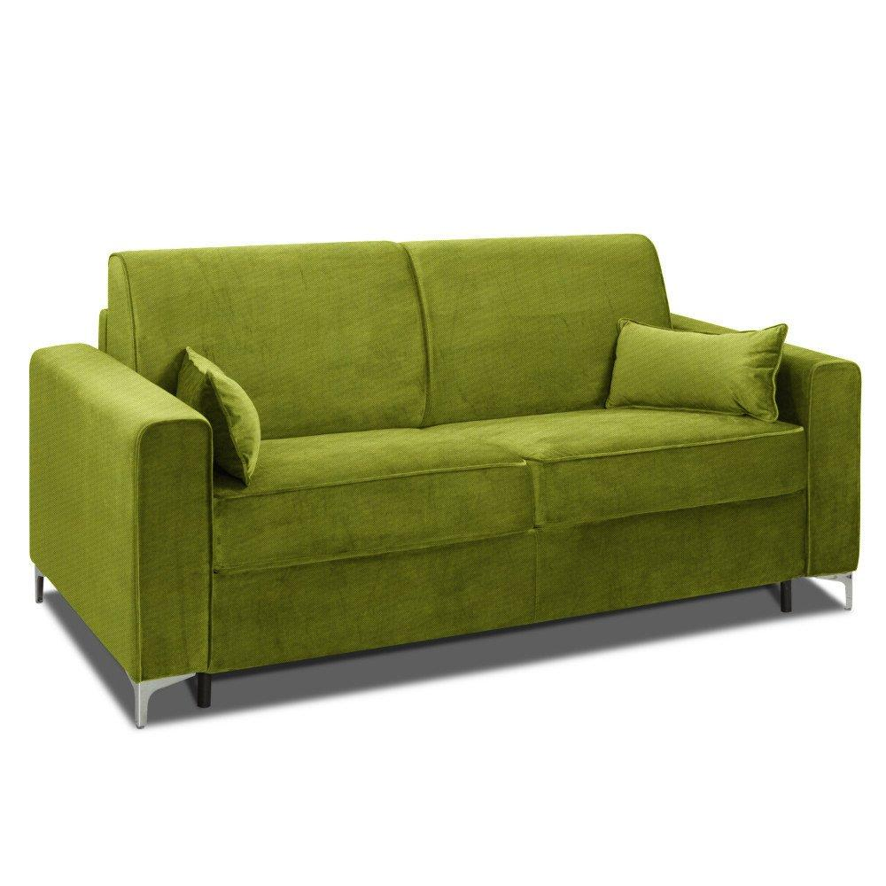 Canapé convertible rapido JACKSON 160cm sommier lattes RENATONISI tissu tweed vert