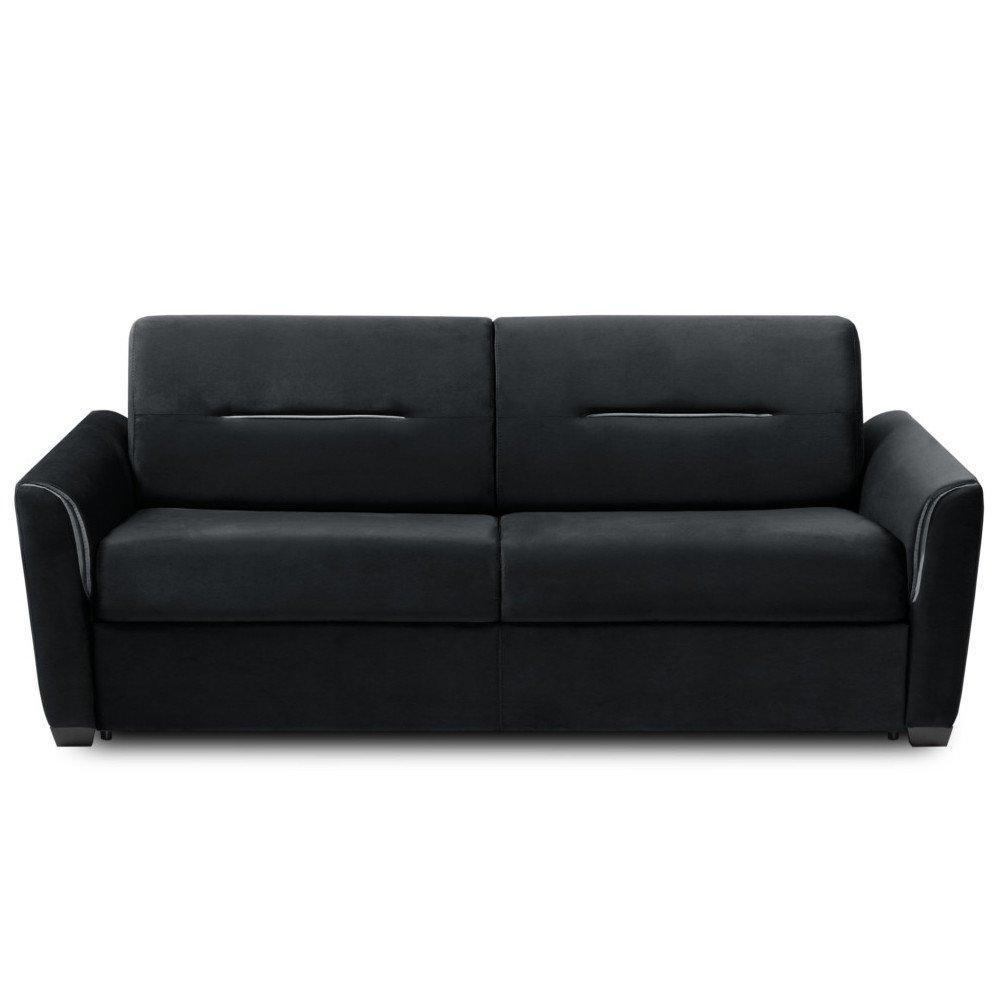 Canapé droit 3 places Noir Tissu Design Confort