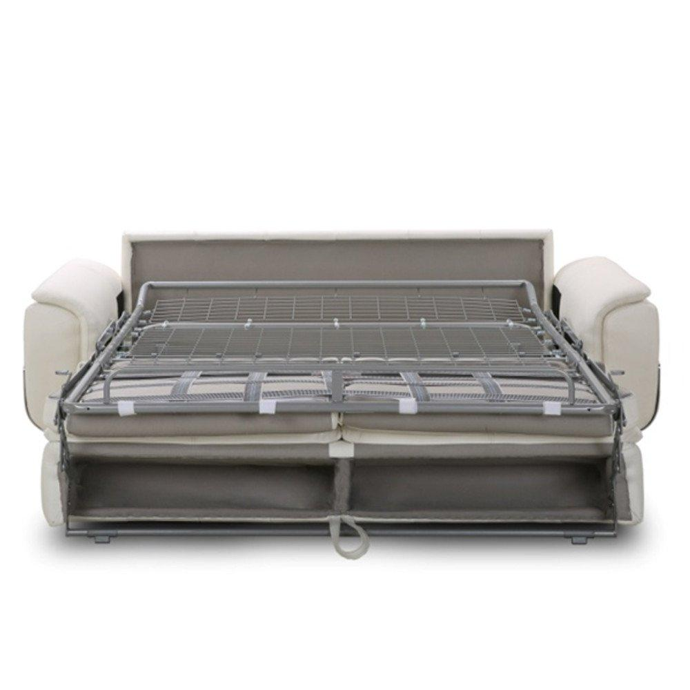 Canapé lit MORELIA convertible 140cm RAPIDO matelas 15cm cuir vachette recyclé blanc cassé