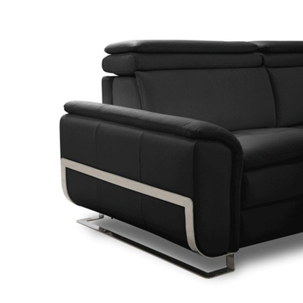 Canapé lit MORELIA convertible 140cm ouverture RAPIDO matelas 15cm cuir vachette recyclé noir