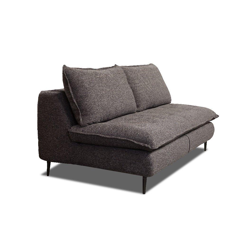 Canapé lit compact 3 places express LISBONNE 140cm sommier à lattes matelas 13cm tissu tweed anthracite chiné