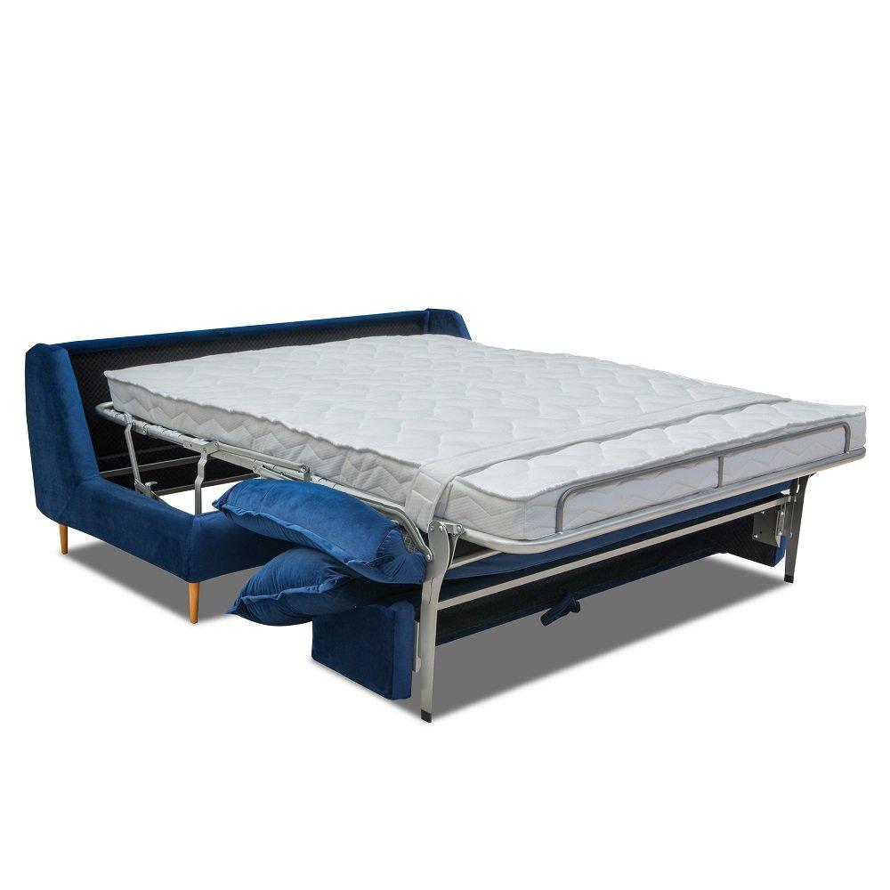 Canapé lit compact 3 places express LISBONNE 160cm sommier à lattes matelas 13cm velours bleu